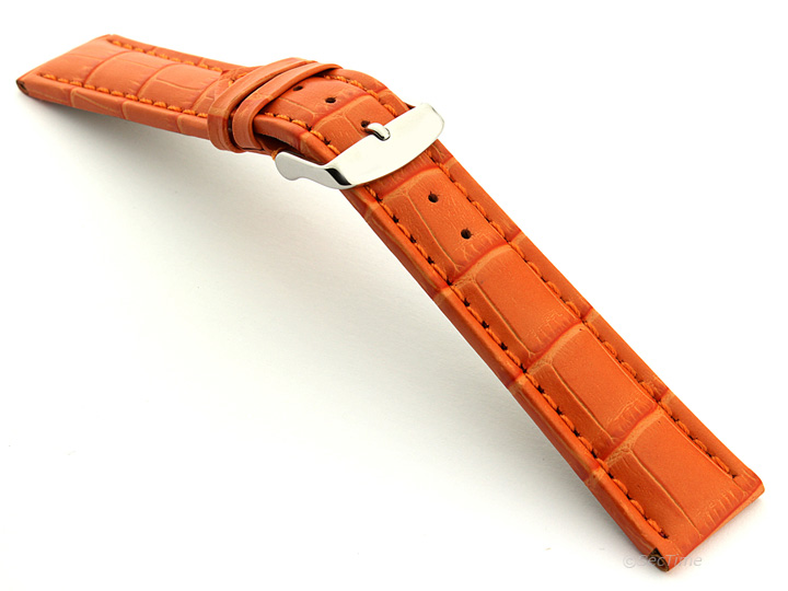 Extra Long Watch Strap Orange with Orange Stitching Croco 02