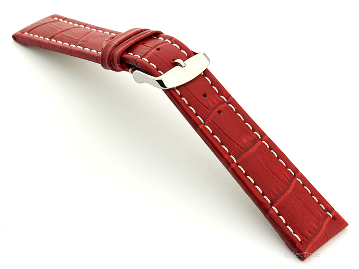 Extra Long Watch Strap Red with White Stitching Croco 02