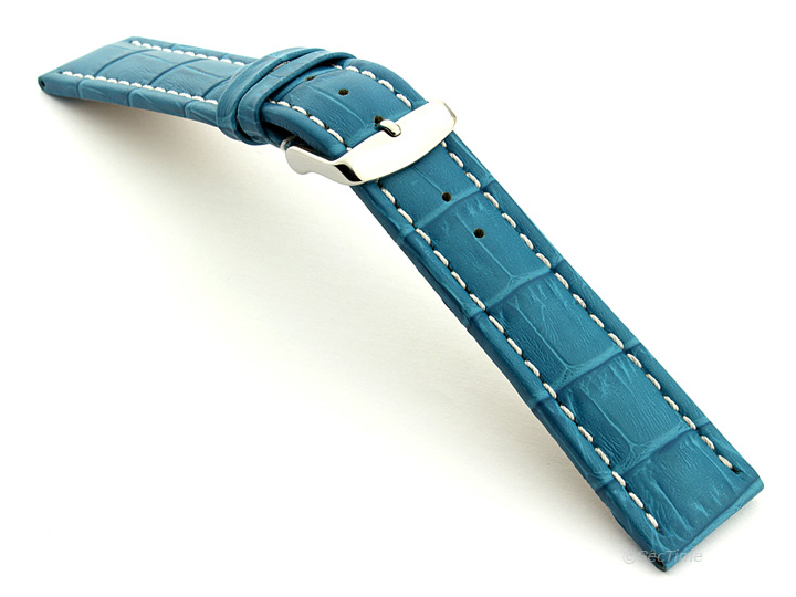 Extra Long Watch Strap Turquoise with White Stitching Croco 02