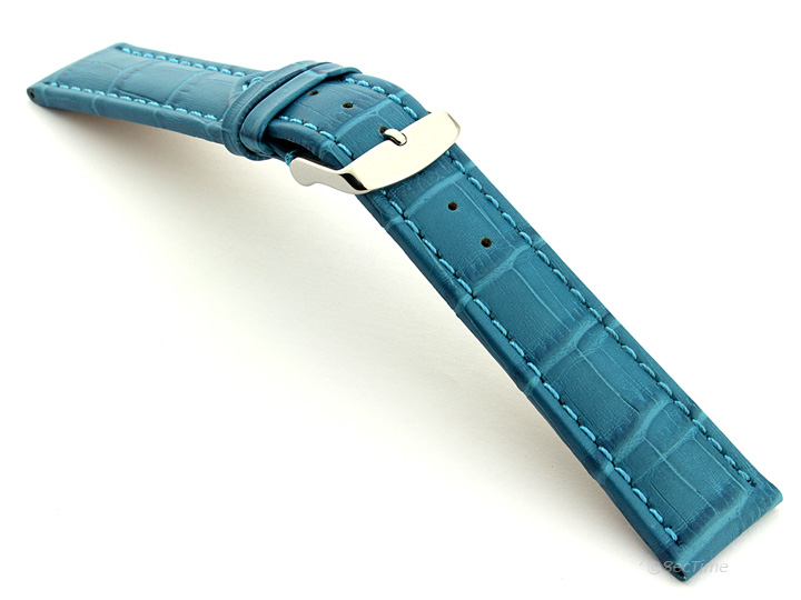Extra Long Watch Strap Turquoise with Turquoise Stitching Croco 02