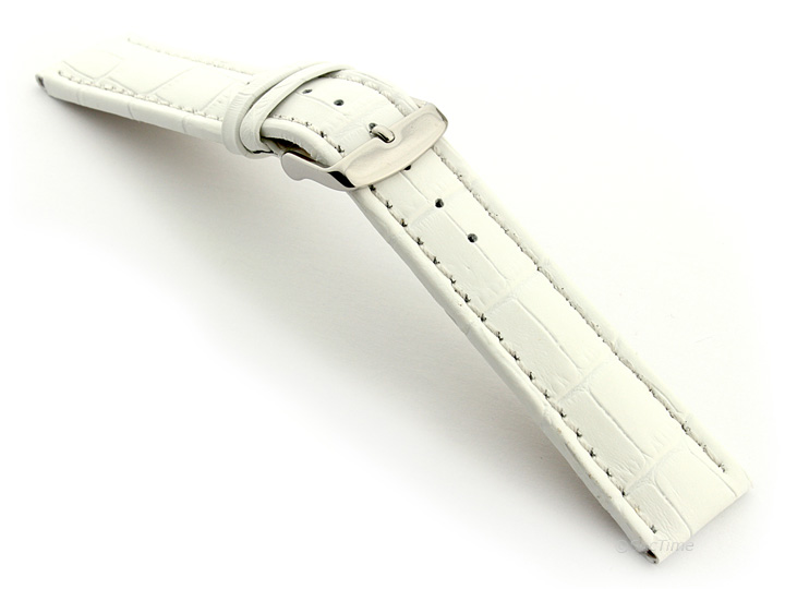 Extra Long Watch Strap White with White Stitching Croco 02