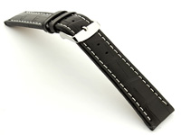 Extra Long Watch Strap Black with White Stitching Croco 02