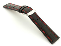 Extra Long Watch Strap Black with Red Stitching Croco 02