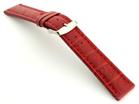 Extra Long Watch Strap Red with Red Stitching Croco 02