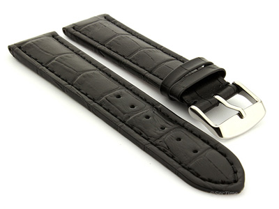 Extra Long Watch Strap Black with Black Stitching Croco 01