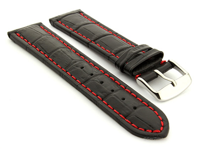Extra Long Watch Strap Black with Red Stitching Croco 01