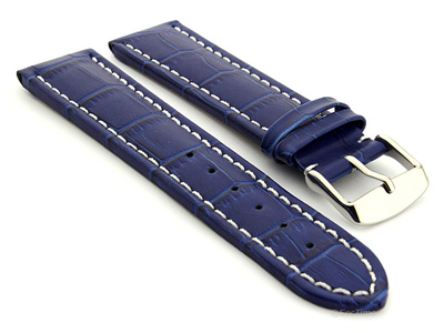 Extra Long Watch Strap Croco Blue / White 22mm