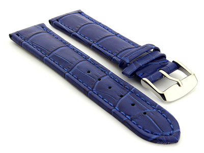Extra Long Watch Strap Croco Blue / Blue 18mm