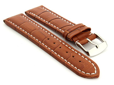 Extra Long Watch Strap Croco Brown / White 22mm