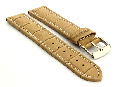 Extra Long Watch Strap Croco Cream / White 22mm
