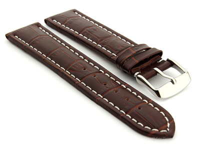 Extra Long Watch Strap Croco Dark Brown / White 18mm