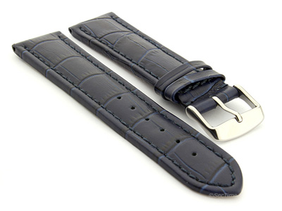 Extra Long Watch Strap Croco Navy Blue / Blue 22mm