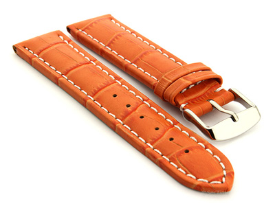 Extra Long Watch Strap Croco Orange / White 18mm