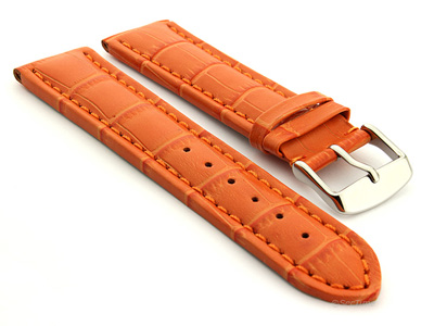 Extra Long Watch Strap Croco Orange / Orange 18mm