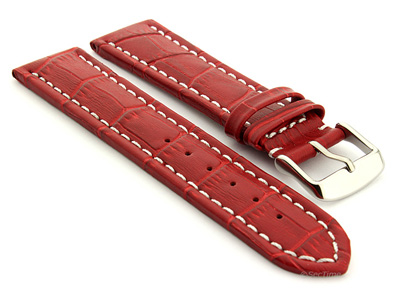 Extra Long Watch Strap Croco Red / White 18mm