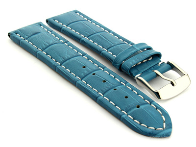 Extra Long Watch Strap Croco Turquoise / White 20mm