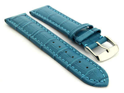 Extra Long Watch Strap Croco Turquoise / Turquoise 20mm