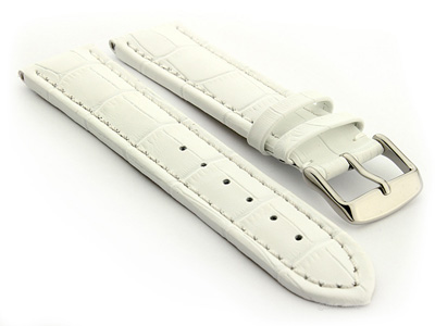 Extra Long Watch Strap Croco White / White 22mm