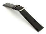 Leather Watch Strap Croco Louisiana Black 22mm