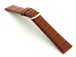 Leather Watch Strap Croco Louisiana Brown 22mm