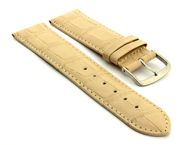 Leather Watch Strap Croco Louisiana Cream 22mm