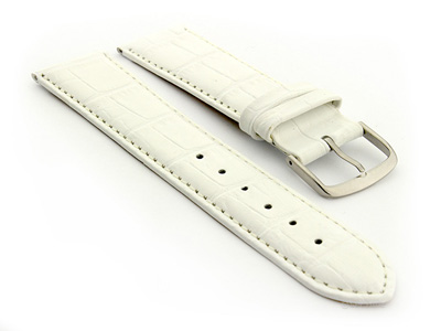 Leather Watch Strap Croco Louisiana White 22mm