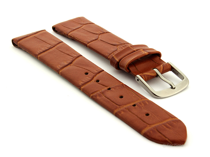 Open Ended Watch Strap Croco EM Brown 01