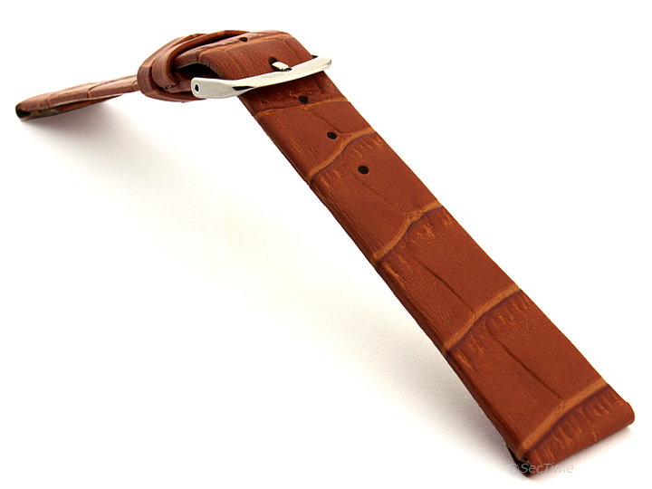 Open Ended Watch Strap Croco EM Brown 02