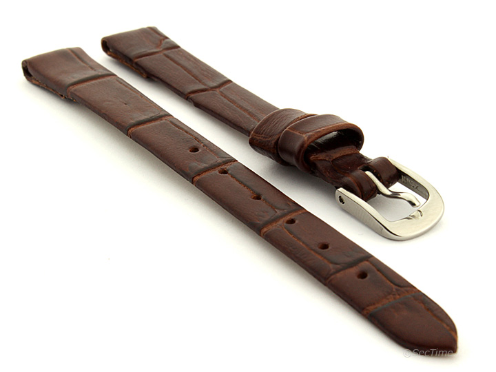 Open Ended Watch Strap Croco ES Dark Brown 01