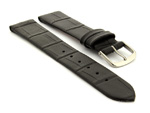 Open Ended Watch Strap Croco EM - Leather Black 16mm