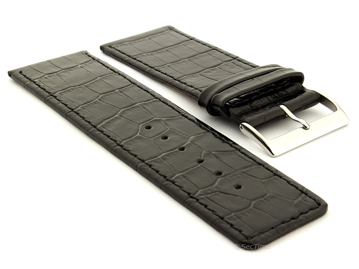Glossy Leather Watch Strap Black Croco WB 01