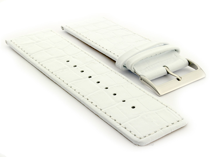 Glossy Leather Watch Strap White Croco WB 01