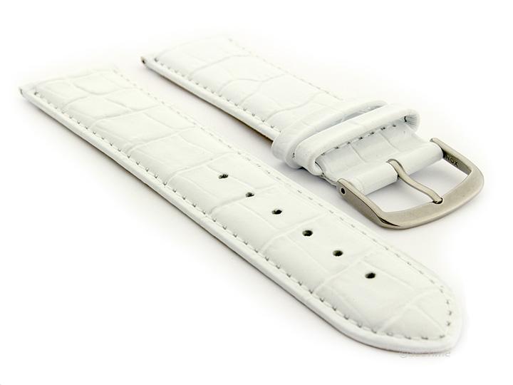 Glossy Leather Watch Strap White Croco WM 01