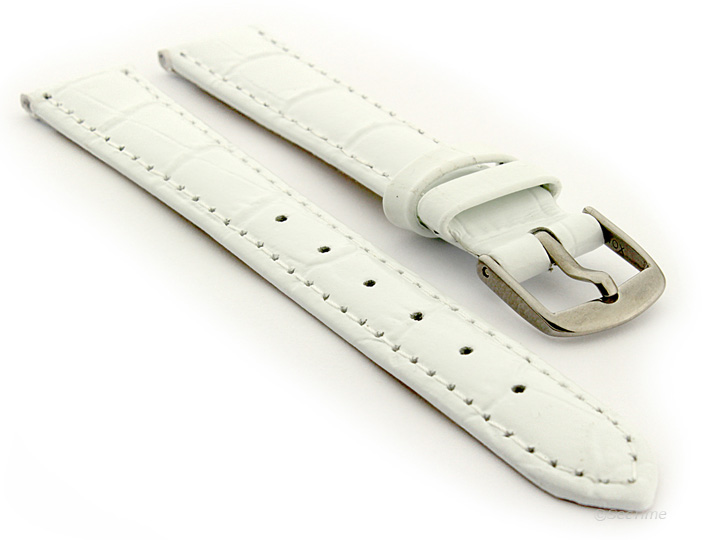 Glossy Leather Watch Strap White Croco WS 01