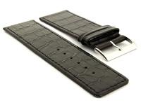 Glossy Leather Watch Strap Black Croco WB 01
