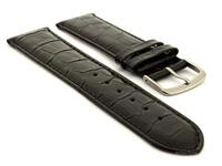 Glossy Leather Watch Strap Black Croco WM 01
