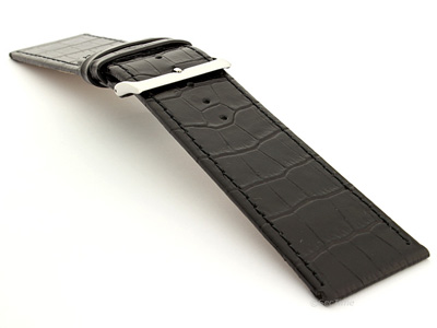 Glossy Leather Watch Strap Black Croco WB 02