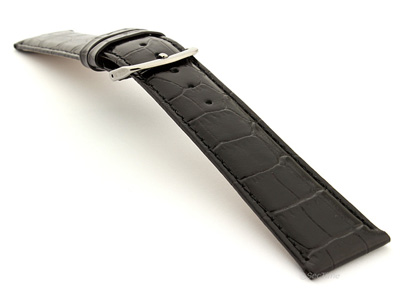 Glossy Leather Watch Strap Croco Spec WM Black 18mm