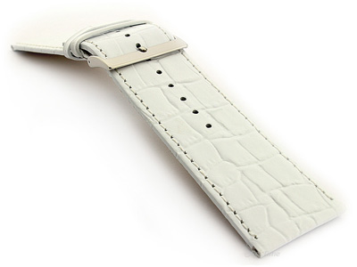 Glossy Leather Watch Strap Croco Spec WB White 32mm