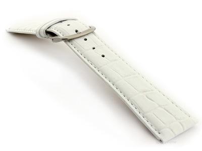 Glossy Leather Watch Strap Croco Spec WM White 26mm