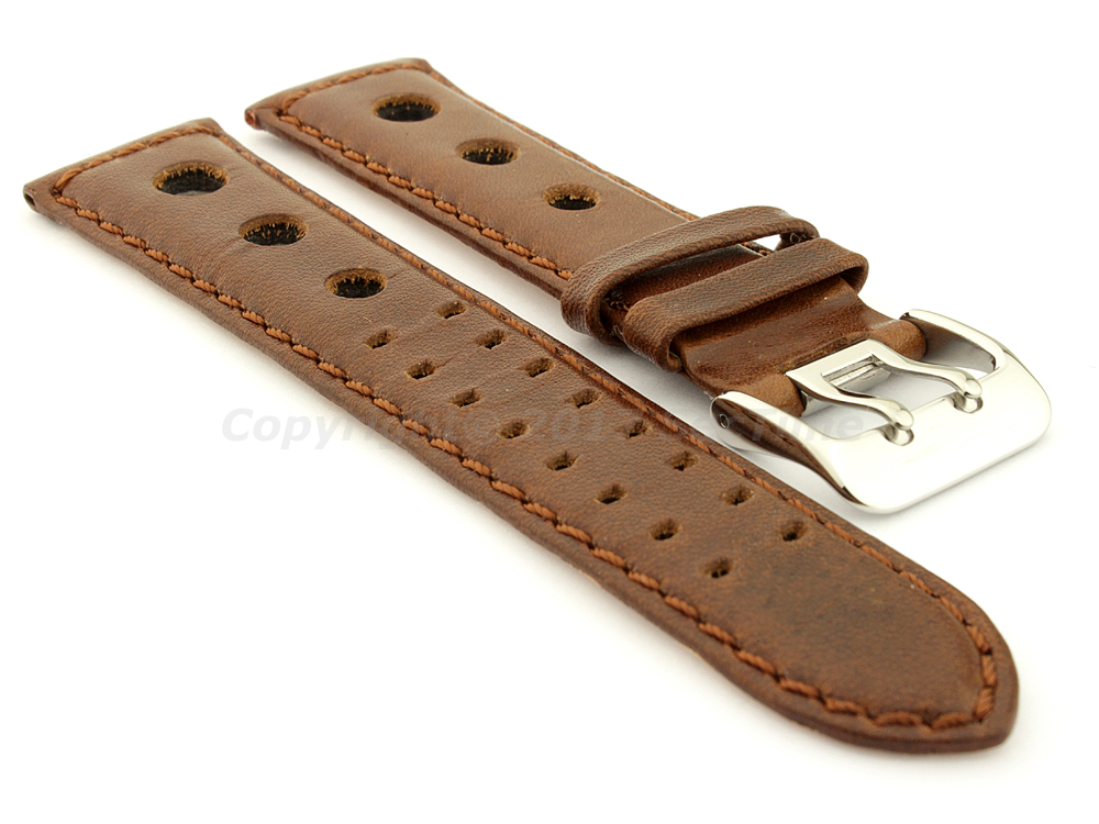 Vegetable-tanned Genuine Leather Watch Strap in Rally Style Double-pin Buckle Dark Brown 01