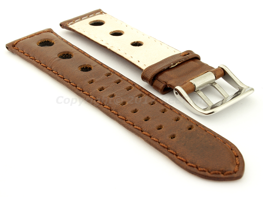 Vegetable-tanned Genuine Leather Watch Strap in Rally Style Double-pin Buckle Dark Brown 02