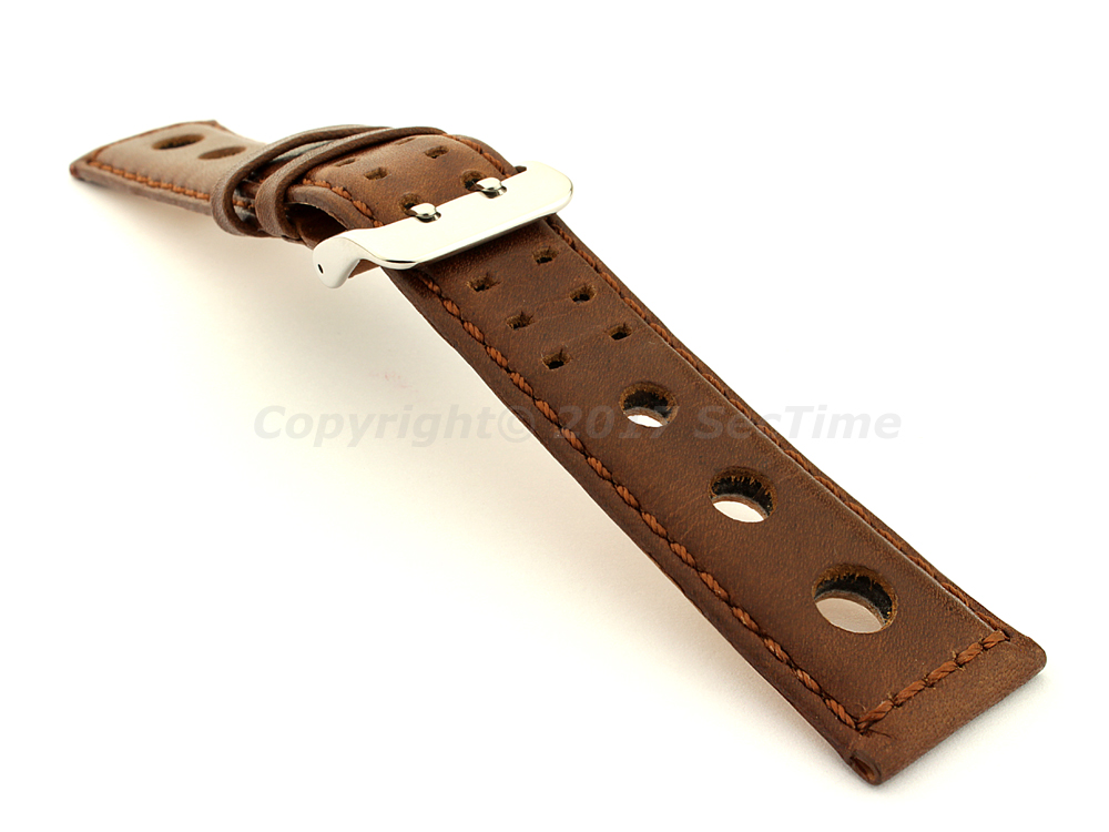 Vegetable-tanned Genuine Leather Watch Strap in Rally Style Double-pin Buckle Dark Brown 03