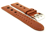 Vegetable-tanned Genuine Leather Watch Strap in Rally Style Double-pin Buckle Brown 01