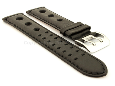 Vegetable-tanned Genuine Leather Watch Strap in Rally Style Double-pin Buckle Black 01