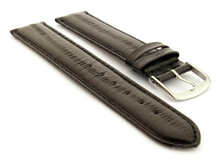 Genuine Eel Leather Watch Strap Black AM 01