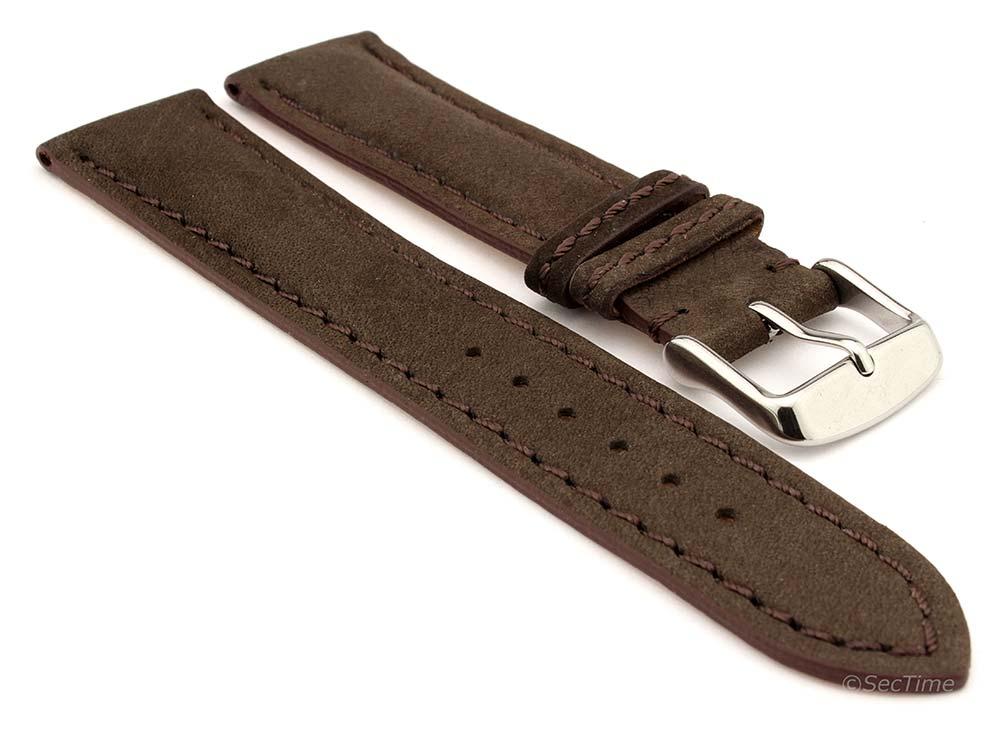 Genuine Nubuck Leather Watch Strap Band Evosa Dark Brown 01