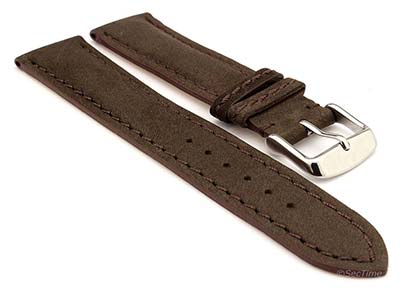 Genuine Nubuck Leather Watch Strap Band Evosa Dark Brown 22mm