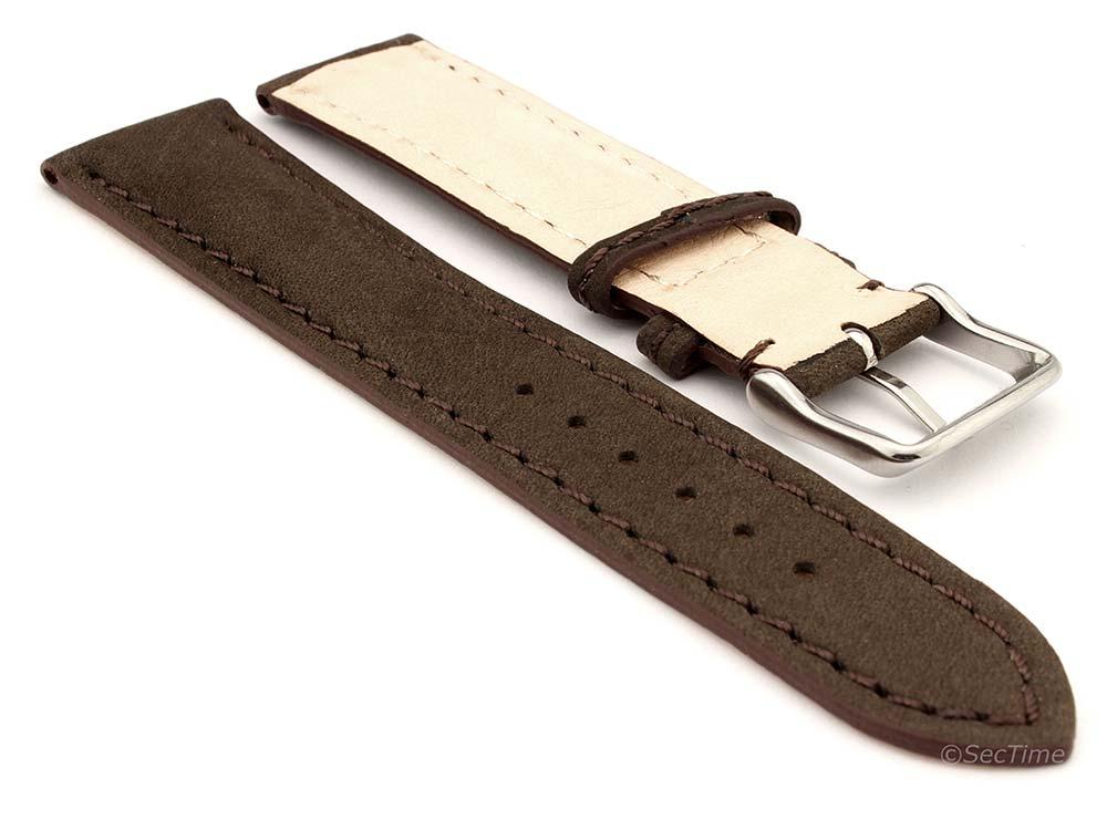 Genuine Nubuck Leather Watch Strap Band Evosa Dark Brown 02