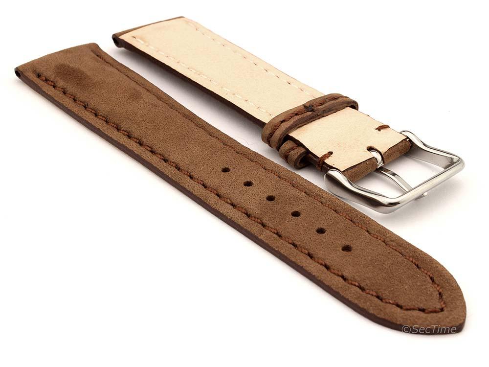 Genuine Nubuck Leather Watch Strap Band Evosa Brown 02